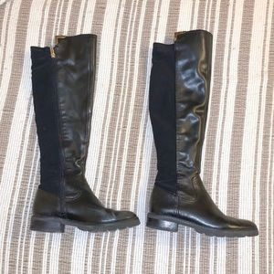Black calf length boots with gold trim